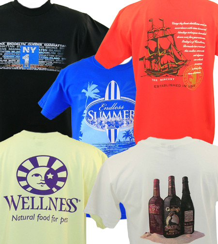 Screenprinted shirts, screen printed t-shirts with your logo from Fruit of the Loom, Hanes, Anvil and more